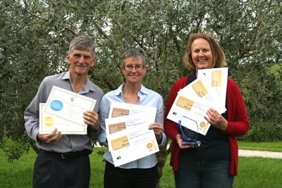 Andrew Jamieson, Helen Wright and Lyn Jamieson with their olive oil awards